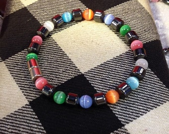 Magnetic Bracelet with Magnetic Hematite Drums and Cateye