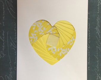 Iris folded heart shape greeting card - mixed yellow patterned papers