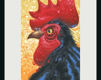 Rooster Painting, Chicken Painting, Rooster Art, Chicken Art, Animal Painting, Farm Animal Art,Bird painting,Bird painting, Bird Art