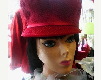 Hi Style 60s Red Velveteen and Feather Cloche Pillbox Hat with Ribbon and Netting Union Made