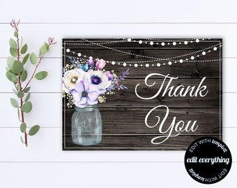 Floral Thank You Card - Thank You Template - Printable Thank You - Wedding Thank You - Thank You Cards - Instant Download - DIY Thank You
