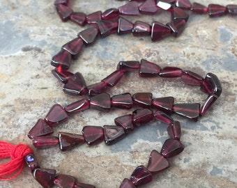 Garnet Triangle Beads, Garnet Beads, Natural Garnet Beads, 6x4mm approx. 14 inch strand