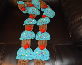 Crocheted Cupcake Scarf with sprinkles