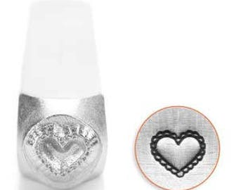 ImpressArt Metal Design Stamp, 6mm Lace Heart Texture Design Jewelry Leather Wood PMC Metal