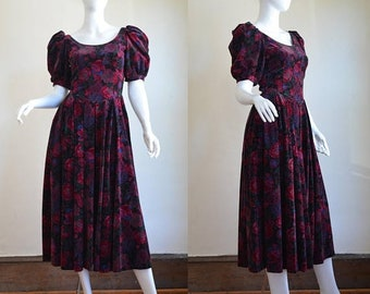 ON SALE Romantic Vintage Laura Ashley Dress in Lush Velvet Made In Great Britain