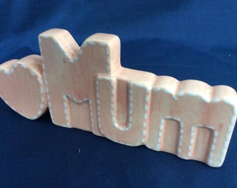 Gift for Mothers Day - Hand Painted 'Mum' Ceramic in blush