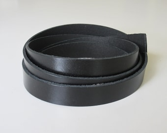 """1"""" or 3/4"""" Genuine Leather Blank Strapping, Black Leather Strap, Premium Leather Blank Strip, Leather Strap"""