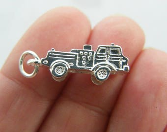 BULK 5 Fire engine charms silver plated tone P343