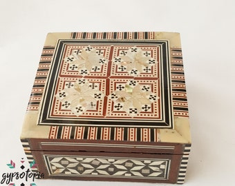 Mother of Pearl square inlaid jewelry Box
