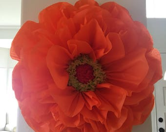 "Giant 30"" Orange Tissue Paper Flower, Nursery Decor, Bridal Shower, Wedding Shower, Wedding Decor"