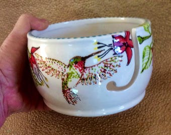 Hummingbird Yarn Bowl With Fuschias