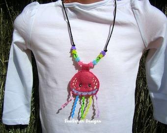 In The Hoop felt necklace pendant Jellyfish (4x4) Instant digital download