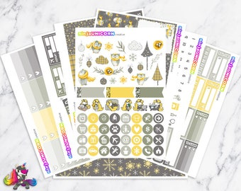Flannel Feather || Planner Sticker Kit, Winter, Owl, Planner Stickers, Planner Kit, Winter Stickers, Owl Stickers