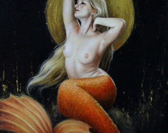 "Mermaid I (Gold) - 8x10"" signed metallic print"