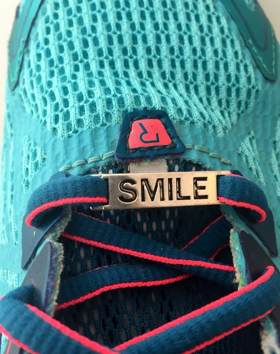 Shoelace Charms, Sports Running Shoe Tags, Shoelace Tags, Shoe Tag Charms, Smile Charm, Gifts for Runners, Word Charms, Inspirational Gifts
