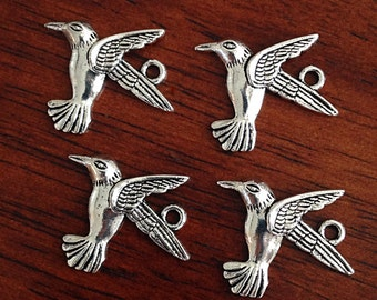 20pcs, Hummingbird Charms, Antique Silver Charms, Humming Bird Charms, Bird, Silver Hummingbird Charms, Jewelry and Craft Supplies,Findings