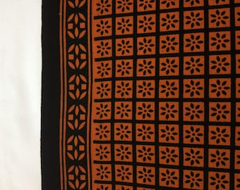 Brown with Border block printed cotton fabric print cotton fabric - 1 yard