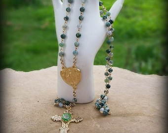 Natural moss agates gemstone rosary, green and gold rosary, gold Miraculous Medal, Saint Therese cross