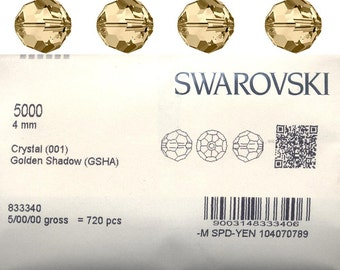 Swarovski 5000 round bead.  4mm Golden shadow .  Price is for 20 beads