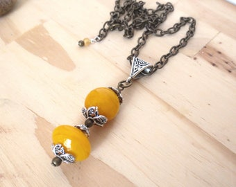 Yellow Pendant Necklace/ Mustard Yellow Lampwork Beads/Adjustable Bronze Chain/Glass Bead Pendant/Wide Silver Bail/Silver and Bronze