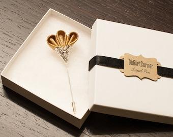 Sparkly Glitz Gold Freesia on Silver Plated Lapel Stick Pin