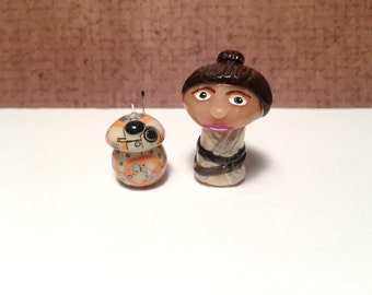 OOAK Star Wars Inspired Rey w/ BB8 Mini Character Pop Culture 'Shroom Figurines - Set - Handpainted Polymer Clay Sculpture