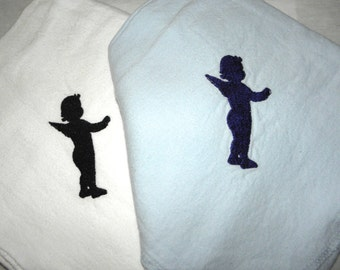 2 Baby Receiving Blankets Baby Blue and White Lightweight Embroidery with Cherub Angel Silhouette - Ready to Ship