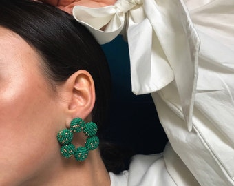 emerald green and gold  beaded hoop earrings, statement piece, handmade jewelry with glass beads bright long drop earrings geometric pieces