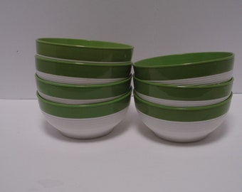Set of 7 Ice Cream or Cereal Bowl, Raffiaware by Thermo-Temp, Avocado Green, Mod, Retro, 60s, 70s