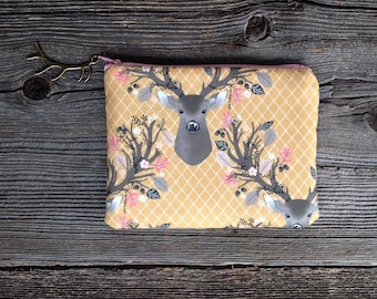 Zippered Pouch, Deer Clutch, Antler Bag, Gifts for Her Under 30, Birthday Gift, Rustic Gift for Women, Cosmetic Bag, Makeup Bag, Boho Chic