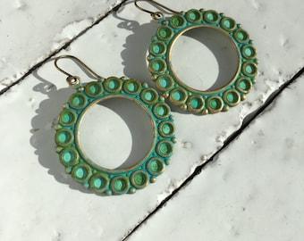 Round Verdigris Earrings Patina Jewelry