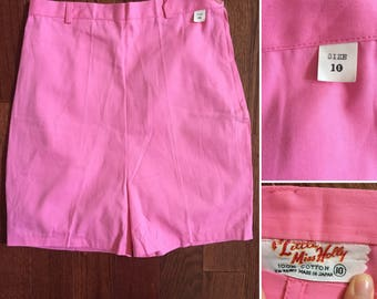 1960s pink shorts, size 10 size 12, girls shorts, Little Miss Holly, vintage shorts, high waist shorts, pink shorts, XS shorts, large girls