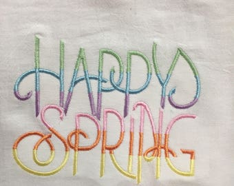 Happy Spring embroidered flour sack towel
