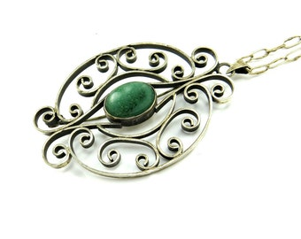 Vintage Taxco Sterling Silver Necklace, Mexico Brooch Pin Necklace, Silver Filigreee Green Stone Necklace, Green Agate, Taxco Jewelry