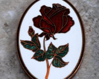 Vintage Rose Plaque 1979 Hallmark Cards Inc. Enamel Raw Brass Crafting Jewelry Making
