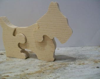 Handmade Wooden Scottish Terrior Dog 3 Piece Puzzle Educational Toy Unpainted Natural Eco-Friendly