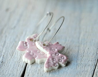 Pink Butterfly Earrings, Sterling Silver Hoops, Porcelain Clay