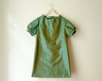 Mod Mini Dress Green Silk