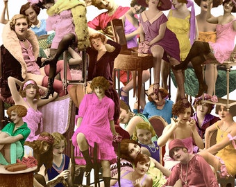 """PNG Files, Digital Kit No.25  For Digital Art,  """"Have a Seat""""- 25 Different Ladies -Instant Download"""