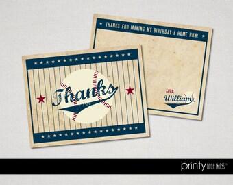 Vintage Baseball Ticket Thank You Cards- Digital File