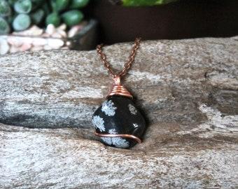 Snowflake Obsidian Necklace - Black Stone Jewelry - Bohemian Wedding Jewelry - Gypsy Bridesmaid Necklace - Boho Jewelry - Wiccan Necklace