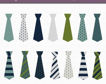 Ties in Blue, Green, and Gray Digital Art Set Clipart Commercial Use Clip Art INSTANT DOWNLOAD