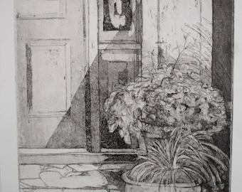 Original Fine Art Etching w/Aquatint, Studio Entrance