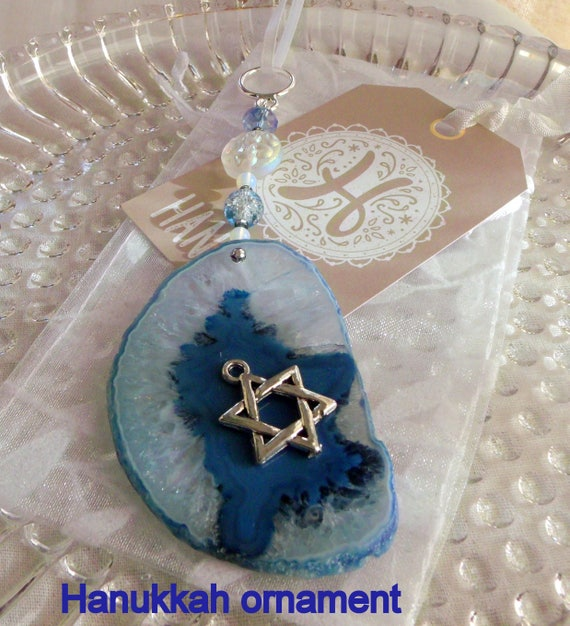 Hanukkah Gift - Sun catcher - window decor - druzy  blue geode slice - natural stone - Judaic memento  - Star of David charm - Lizporiginals