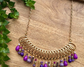 Boho Necklace Bib Necklace Statement Necklace Crystal Necklace Purple Necklace Short Necklace Gypsy Necklace Boho Jewelry Gift for Her