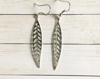 Silver Leaf Earrings, Filigree Drop Earrings, Women's Earrings, Nature Inspired Earrings, Silver Earrings
