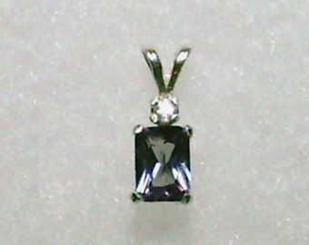 7x5mm Lab Created Alexandrite Gemstone with 2mm White Zircon Gemstone Accent in 925 Sterling Silver Pendant Necklace June Birthstone
