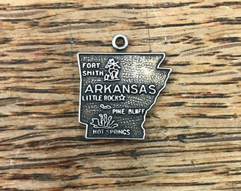 State of Arkansas Flat Sterling Silver Charm