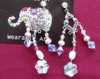 Swarovski crystal and freshwater pearl earrings