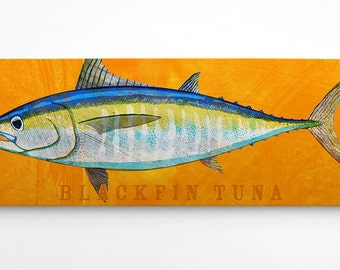 Fathers Day Gifts for Dad, Gifts from Daughter, Wife to Husband Gift, Tuna Fish Art, Blackfin Tuna Art Block, Saltwater Fish Art